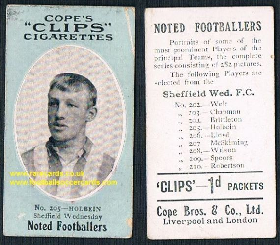 1909 Cope's Clips 2nd series Noted Footballers, 282 back, 205 Holbein Sheffield Wednesday